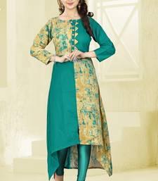 Buy Turquoise printed cotton long-kurtis long-kurtis online
