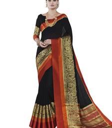 Buy Black woven banarasi silk saree with blouse banarasi-silk-saree online