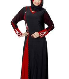 Buy Black and Red  Islamic lycra plain Abaya With Scarf For Eid/ Wedding abaya online