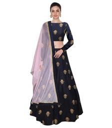 Buy Navy blue embroidered silk unstitched lehenga lehenga-choli online