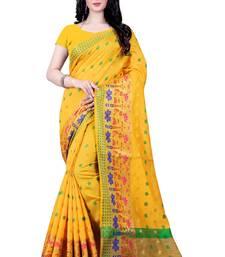 Buy Yellow woven poly cotton saree with blouse kanchipuram-silk-saree online