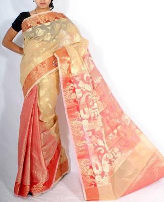 Fancy Check Patli Pallu Banarasi saree