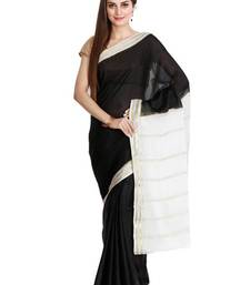 Buy Black pure silk mysore crape pure silk saree with blouse silk-saree online