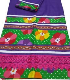 Buy Kromé violet coloured lace work semi stitched rida dress rida online