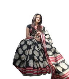 Buy Black printed art silk saree with blouse handloom-saree online