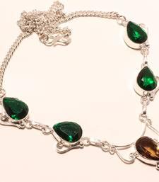 "Buy Smokey topaz gemstone 925 silver necklace 16-18"" gemstone-necklace online"