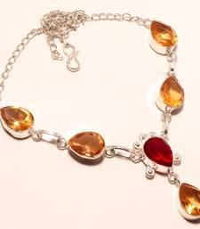 "Buy Red garnet gemstone 925 silver necklace 16-18"" gemstone-necklace online"