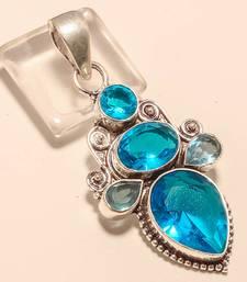 "Buy Blue topaz gemstone 925 silver jewelry pendant 2.5"" gemstone-pendant online"