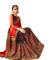 Buy Brown embroidered georgette saree with blouse light-weight-saree online