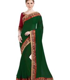 Buy Indian women dark green designer patch and stone and floral design Raw Silk saree with blouse chiffon-saree online