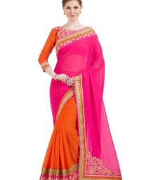 Buy Indian women pink and orange designer patch and stone and floral design Raw Silk saree with blouse chiffon-saree online