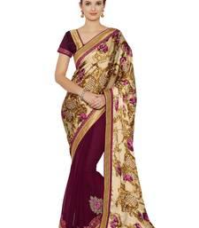 Buy Indian women multicolor Half and Half Sari and Floral Print Raw Silk saree with blouse satin-saree online