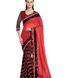 Buy Indian women Red Half and Half Sari Raw Silk saree with blouse georgette-saree online