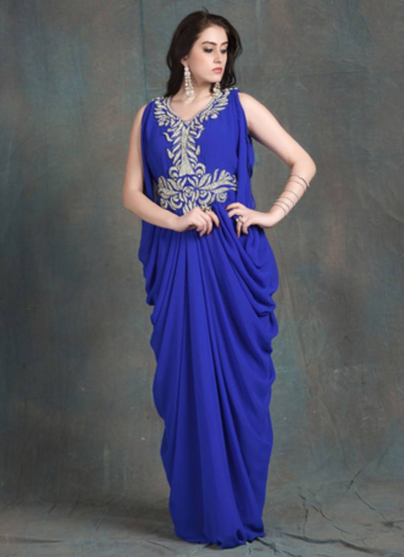 Buy Blue color Sleeveless Kaftan Dress-Georgette Hand beaded ...