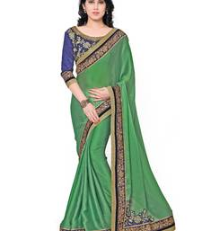 Buy Indian women Green Plain Sari with Embroidered Border Raw Silk saree with blouse party-wear-saree online