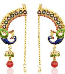 Buy Peacock earring with red green stones and pearls India Dancing Girl ethnic jewel jhumka online