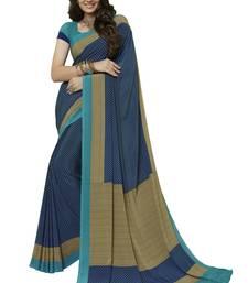 Buy Blue printed crepe saree with blouse printed-saree online