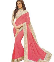 Buy Peach embroidered faux georgette saree with blouse georgette-saree online