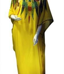 Buy Yellow Beads and Stone Work Georgette Hand Stiched Arab Islamic farasha farasha online