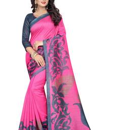Buy Pink printed cotton silk saree with blouse bhagalpuri-silk-saree online