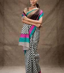 Buy Blue and pink printed tussar silk saree hand-woven-saree online