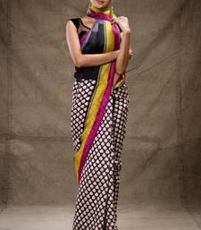 Buy White and black printed tussar silk saree hand-woven-saree online