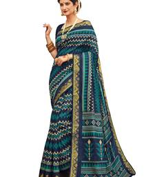 Buy Blue printed faux  silk saree with blouse art-silk-saree online