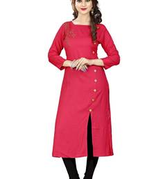 Buy Peach hand woven rayon long kurtis long-kurtis online