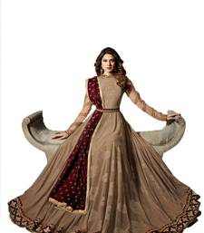 Buy Beige embroidered net salwar anarkali-salwar-kameez online