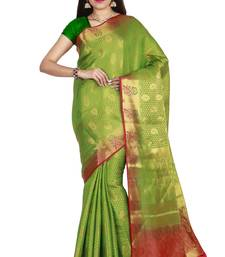 Buy Green hand woven art silk saree with blouse south-indian-saree online