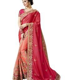 Buy Dark pink embroidered silk saree with blouse silk-saree online