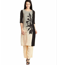 Buy Cream american french crepe and full stiched kurtis kurtas-and-kurtis online