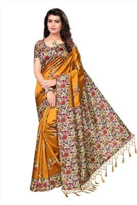 Yellow printed tussar silk saree with blouse