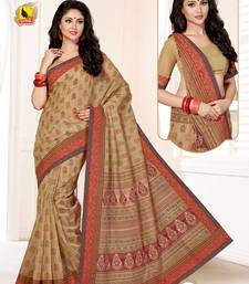 Buy Beige printed cotton ethnic sarees with blouse cotton-saree online