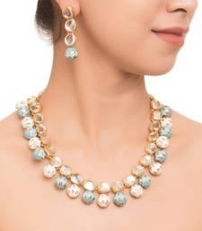 Buy Pritisha turquoise and white meenakari  and kundan necklace set necklace-set online