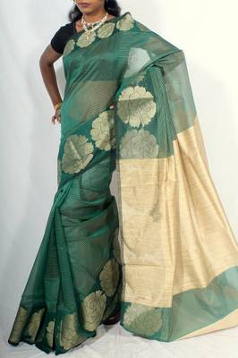 Supernet check fancy zari border saree