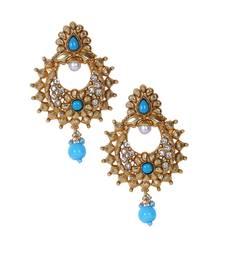 Buy Turquoise blue polki stone drop pearl chandbali style earrings te949 danglers-drop online