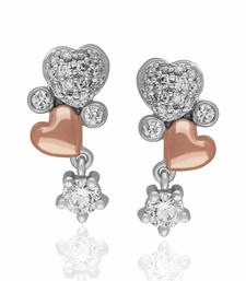 Buy Valentine day 0.39cts Diamond double heart shape earrings-18k rose & white gold earrings -gift for love Earring online