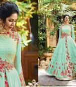Buy green embroidred Gorgette semi stitched salwar with dupatta