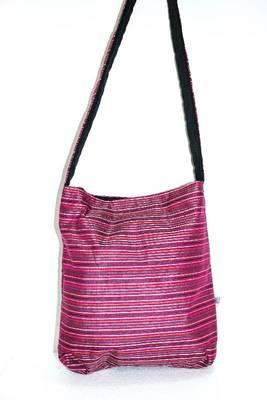 Dark Pink threaded multiple strips unisex jhola bag