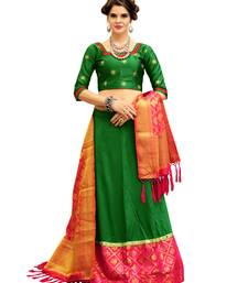 Buy Green Embroidery Tifi Silk Banarasi Silk Lehenga Choli With Blouse lehenga-choli online