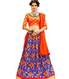 Buy Orange and Blue Digitally Printed Twrill Silk  Lehenga Choli With Un-Stitched Blouse lehenga-choli online
