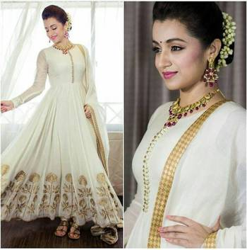 off white georgette embroidered anarkali suits