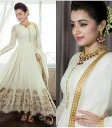 Buy off white georgette embroidered anarkali suits anarkali-salwar-kameez online
