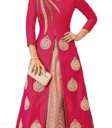 Buy Pink Embroidered Silk unstitched salwar with dupatta anarkali-salwar-kameez online