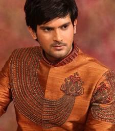 Buy mustard fine raw silk embroidered sherwani men-festive-wear online