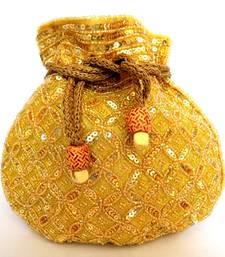 Buy Beaded Drawstring Potli/Batwa- Golden 2 fashion-deal online