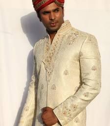 Buy cream plain lurex embroidered sherwani men-festive-wear online