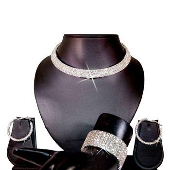 Diovanni Artificial Diamond Necklace+ Bracelet + Finger ring