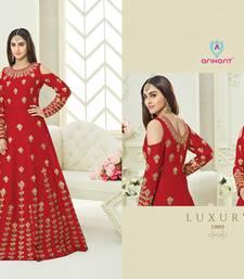 Buy Red zari silk semi stitched salwar with dupatta silk-salwar-kameez online